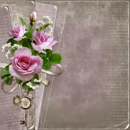 Old vintage background avec des roses roses Banque d'images