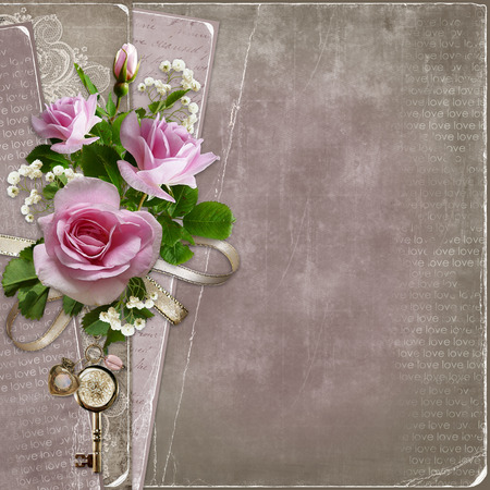 Old vintage background with pink roses