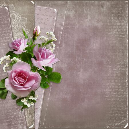 shabby: Old vintage background with pink roses