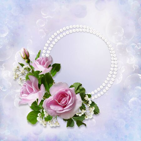 mammy: Gorgeous gentle background with roses, pearls with space for photo or text