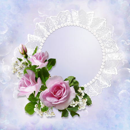 the spouse: Gorgeous gentle background with roses, pearls and lace with space for photo or text Stock Photo