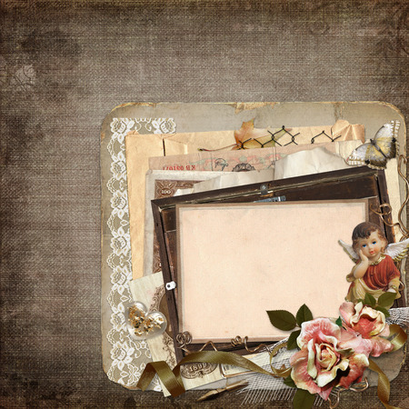 angel roses: The old frame with old money, angel, roses and old documents on the vintage background