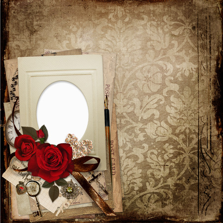 mammy: Old vintage shabby background with frame, roses, cards and retro ornaments