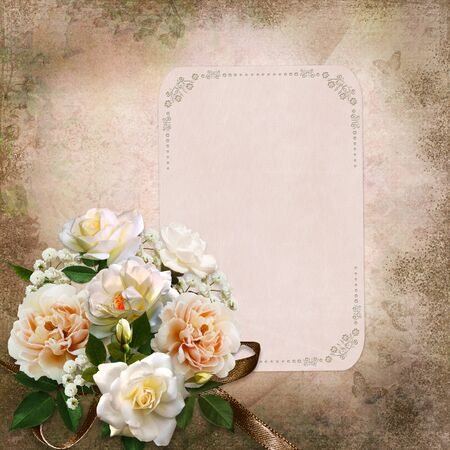 Vintage background with roses and a card with space for text or photo