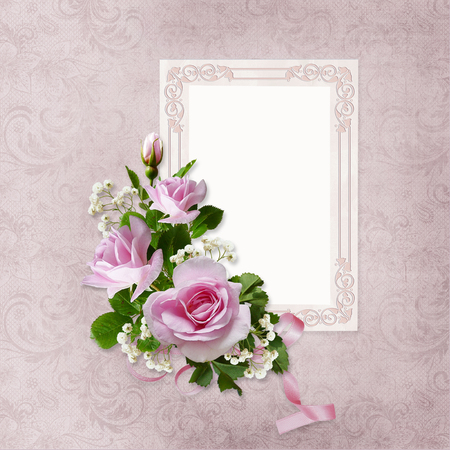 Roses and frame on the vintage background