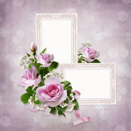 borde de flores: Rosas y marcos en el fondo de la vendimia Foto de archivo