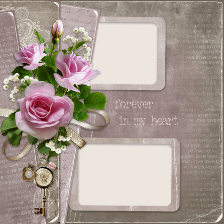 old backgrounds: Roses with frames for photo on old vintage backgrounds Stock Photo