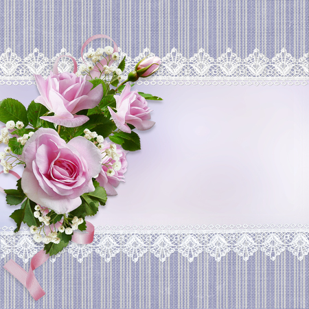 mammy: Bouquet of pink roses on vintage background with lace