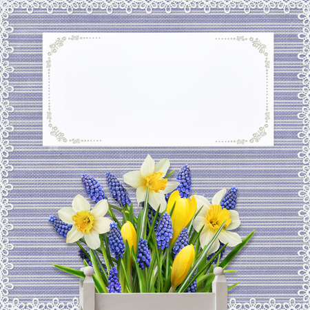 mammy: Greeting card with flowers and card for text on vintage background with lace Stock Photo