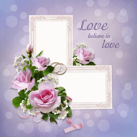 mammy: Roses, frames, wedding rings on a gentle beautiful background