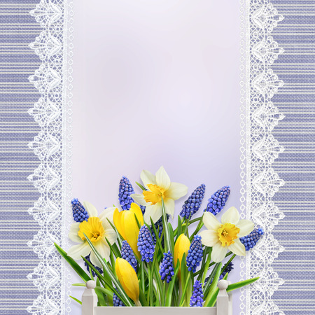 mammy: Vintage background with lace, flowers and space for text or photo