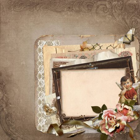 mammy: Vintage background with old frames, angels, roses and old retro decorations