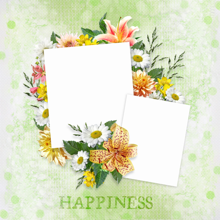 mammy: Green background with beautiful flowers and frames with space for photo or text