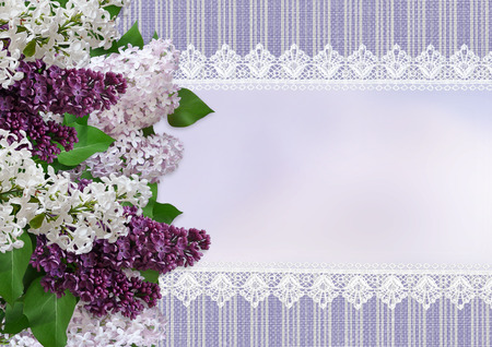mammy: Vintage background with lace, space for text and branches of lilac