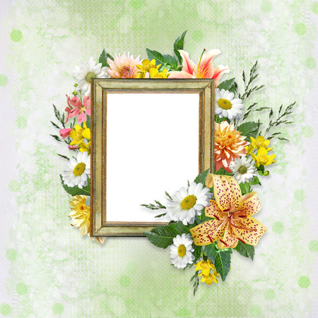 mammy: Light green background with frame for photo or text and beautiful flowers