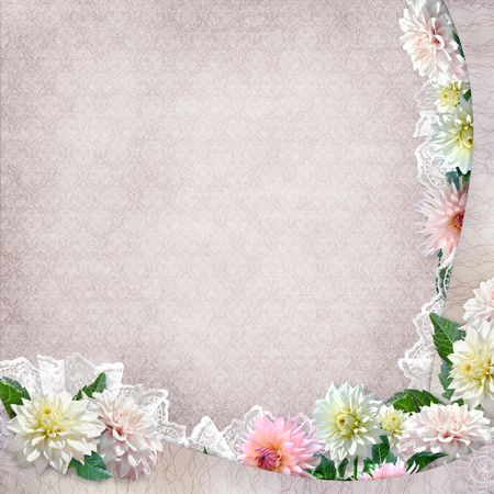 memoirs: Beautiful border with flowers, lace on vintage background