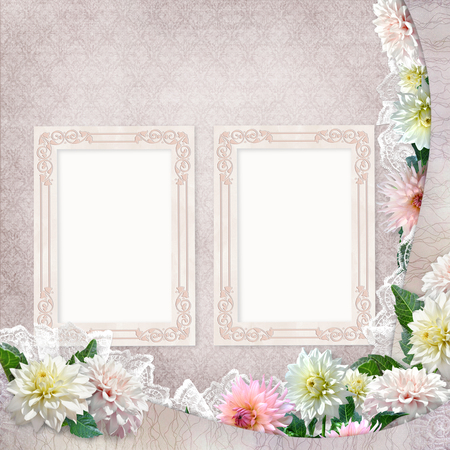 the spouse: Beautiful borders with flowers, lace and frames on the vintage background