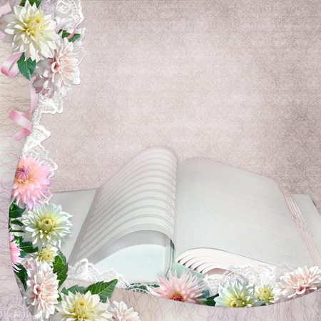 memoirs: Beautiful borders with flowers and open album on the vintage background