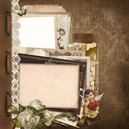 withered: Old vintage background with lace, old documents, money, photo frames, angel Stock Photo