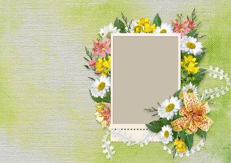 background frame: Vintage background with frame, flowers and lace ribbon