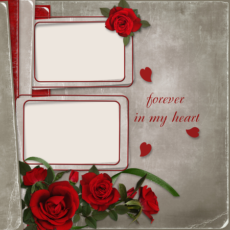 mammy: Vintage shabby background with frames and roses