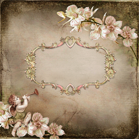 Old vintage background with frame for text or photo, angel and branches of orchids