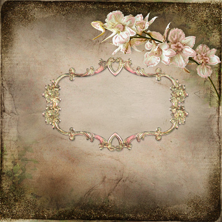 mammy: Old vintage background with frame for text or photos and branch orchid Stock Photo