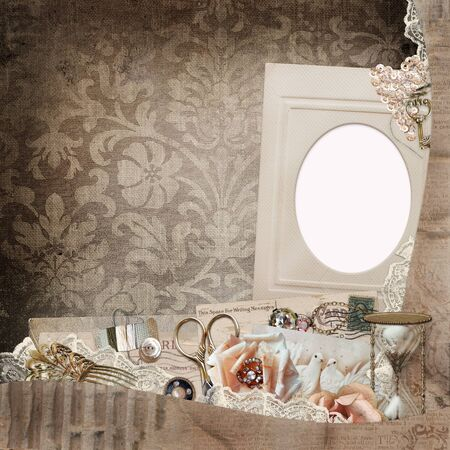 shabby: Old vintage background with frame, vintage decorations, old letters and cards, lace, hourglass