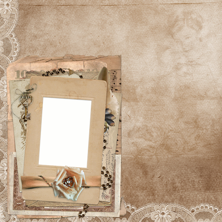 mammy: Old vintage background with lace, frame, old documents