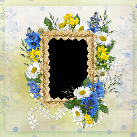 mammy: Beautiful vintage background with frame of straw and flowers