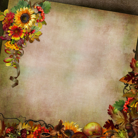 Autumn background with flowers, leaves and berries Stock Photo