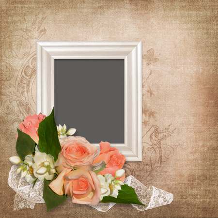 mammy: Frame with a bouquet of roses, lace on an old vintage background