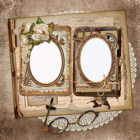 old letters: Frames for photos, old letters, documents, vintage ornaments on an old, shabby vintage background Stock Photo