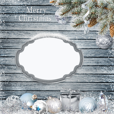 congratulatory: Christmas congratulatory background with frame for text or photo, pine branches and Christmas decorations
