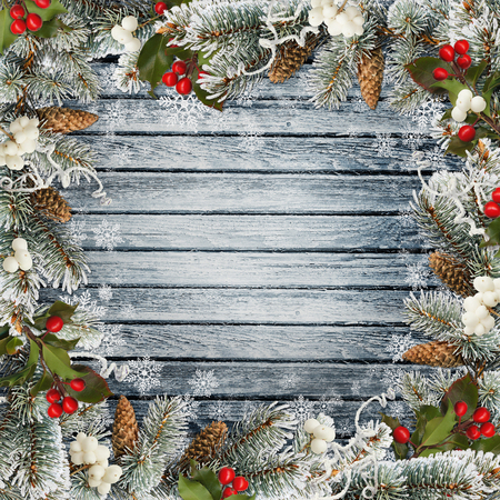 congratulatory: Christmas congratulatory background with pine branches and berries on a wooden board