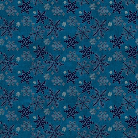 curlicues: Blue vintage background with snowflakes various shapes