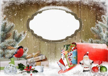 Christmas greeting card with frame, gifts, a mailbox with letters, pine branches and christmas decorations
