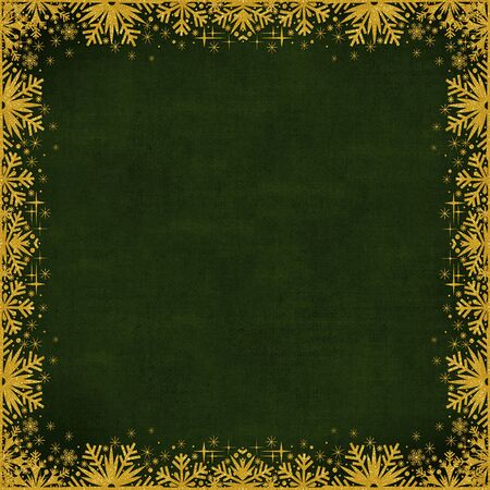 curlicues: Green vintage background with a border of gold sparkling snowflakes