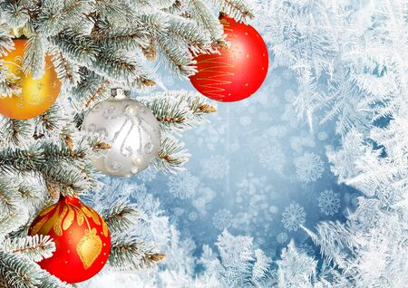 dcor: Christmas greeting card with pine branches and balls on the frosty patterns background