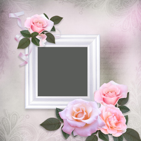 mammy: Pink roses and frame on a gentle romantic vintage background Stock Photo