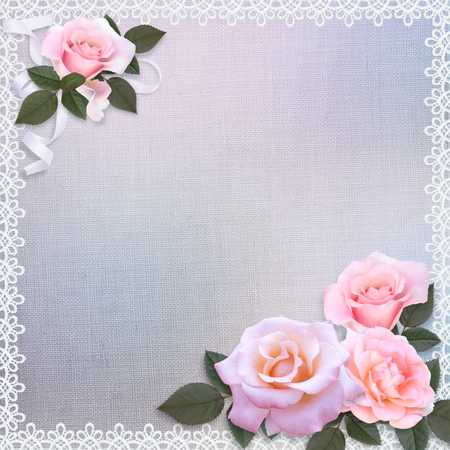Pink roses on a gentle romantic vintage background