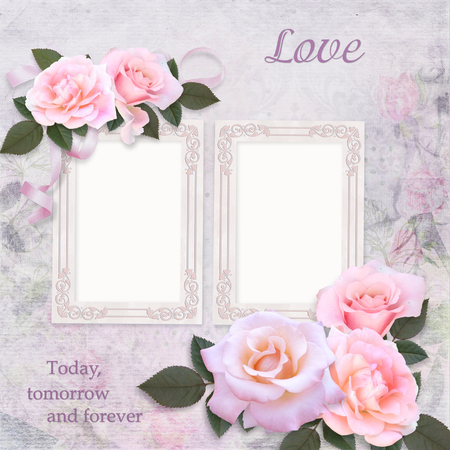 Vintage frames and pink roses on a romantic vintage background