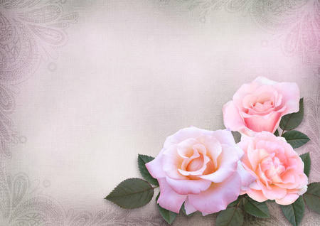 Greeting card with pink roses on a romantic vintage background with space for text Imagens