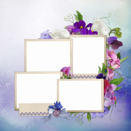 Beautiful summer flowers, frames for family photos on a romantic background