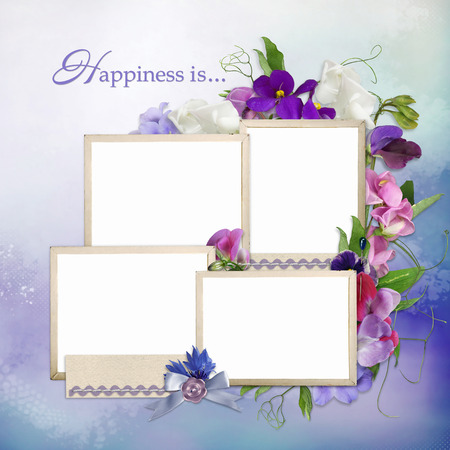 Frames for family and summer flowers on delicate background