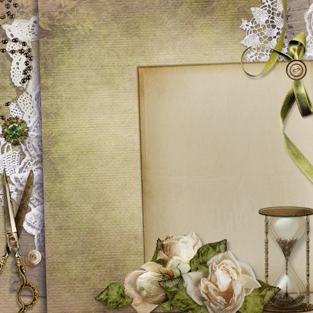 withered: Old vintage background with retro jewelery, withered roses, hourglass, lace and a space for text or photo