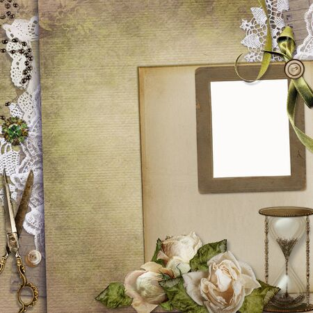 withered: Old vintage background with frame, retro jewelery, withered roses, hourglass, lace and a space for text