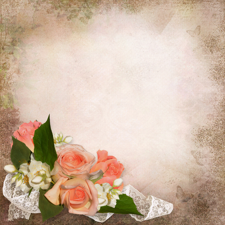 Roses on a vintage background with space for text or photo Imagens
