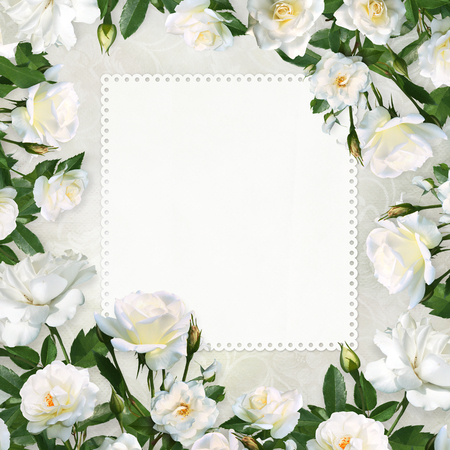 Card with space for text or photo Surrounded by white roses on a beautiful vintage background
