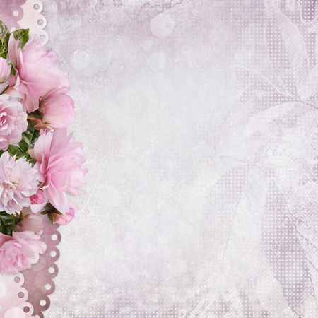 Congratulatory background with space for text or photo and a border of pink roses
